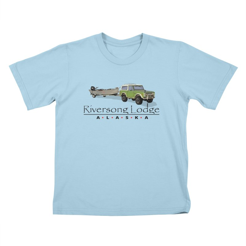 Riversong Lodge Adventure Rig (Black lettering) Kids T-Shirt by Boneyard Studio - Boneyard Fly Gear