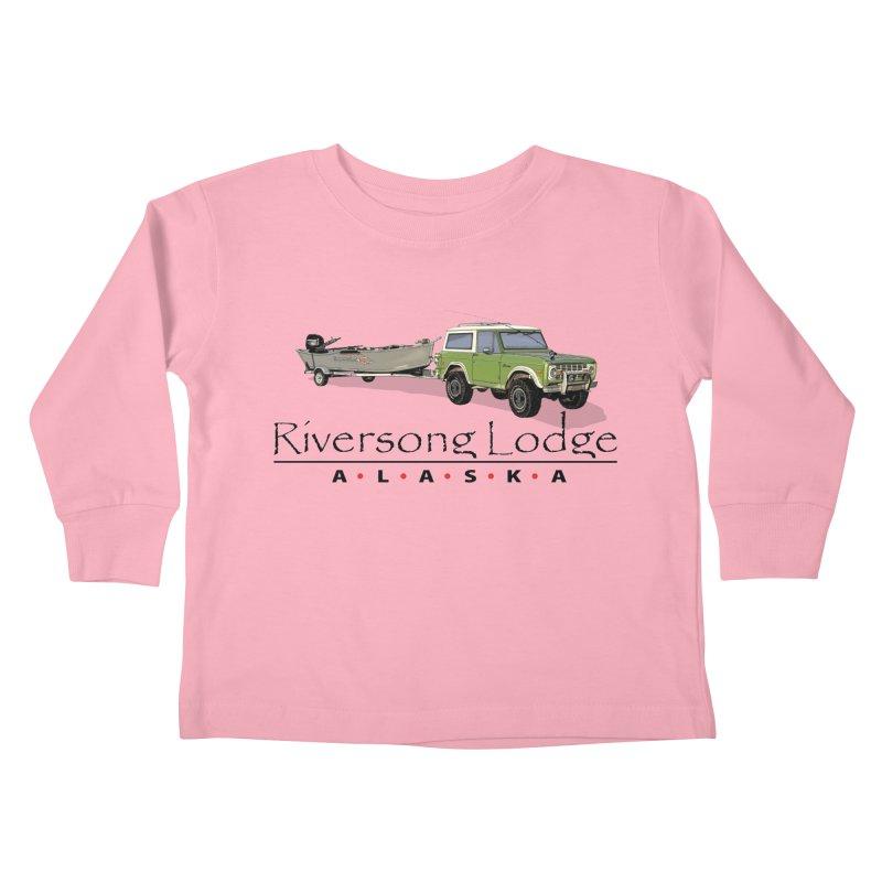 Riversong Lodge Adventure Rig (Black lettering) Kids Toddler Longsleeve T-Shirt by Boneyard Studio - Boneyard Fly Gear