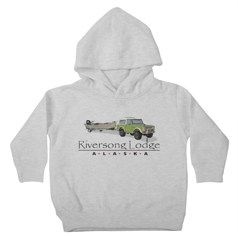 Riversong Lodge Adventure Rig (Black lettering) Kids Toddler Pullover Hoody by Boneyard Studio - Boneyard Fly Gear