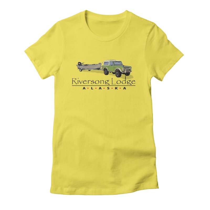 Riversong Lodge Adventure Rig (Black lettering) Women's T-Shirt by Boneyard Studio - Boneyard Fly Gear
