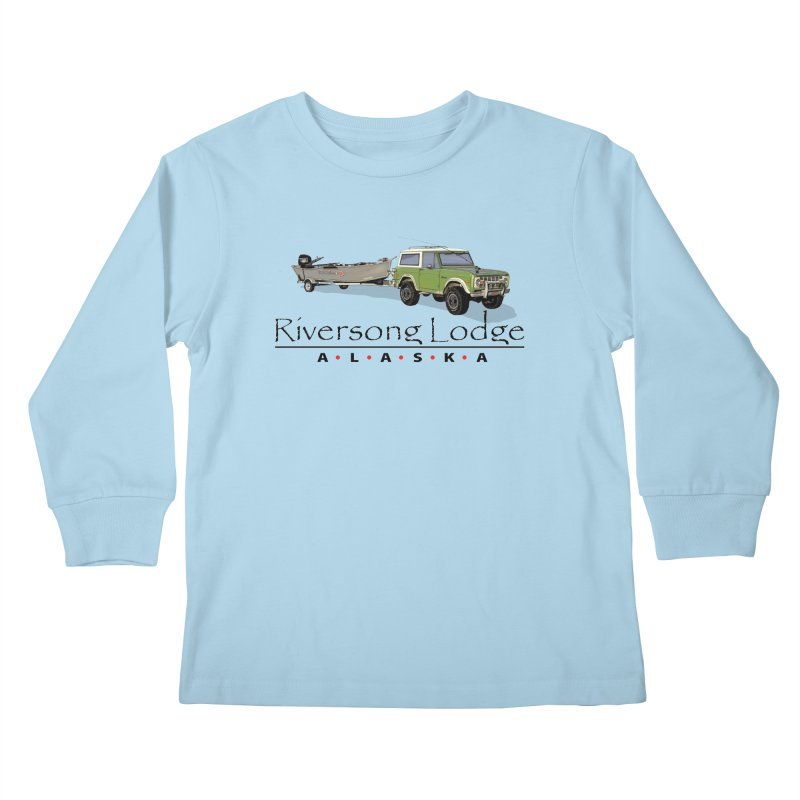 Riversong Lodge Adventure Rig (Black lettering) Kids Longsleeve T-Shirt by Boneyard Studio - Boneyard Fly Gear
