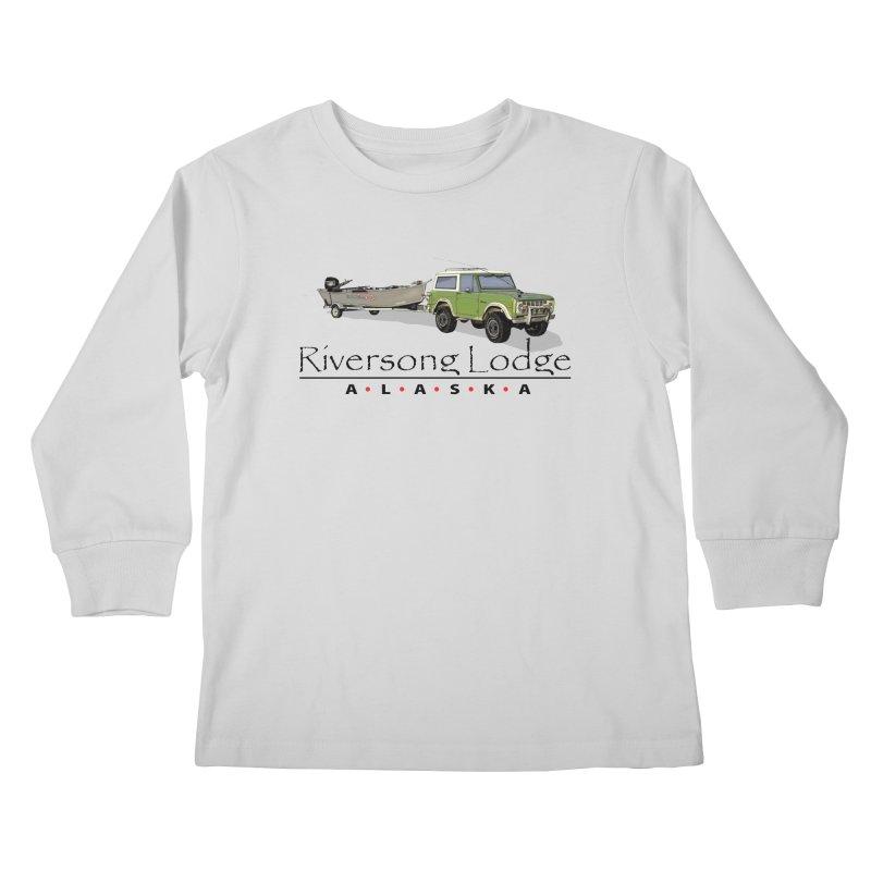 Riversong Lodge Adventure Rig (Black lettering) Kids Longsleeve T-Shirt by Boneyard Studio - Boneyard Fly Gear