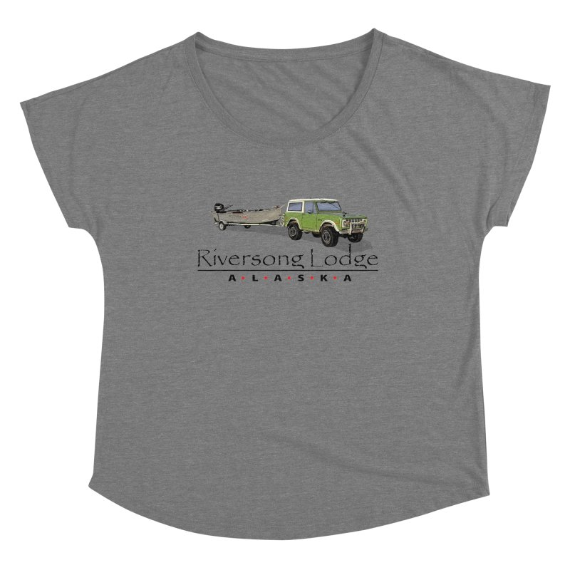Riversong Lodge Adventure Rig (Black lettering) Women's Scoop Neck by Boneyard Studio - Boneyard Fly Gear