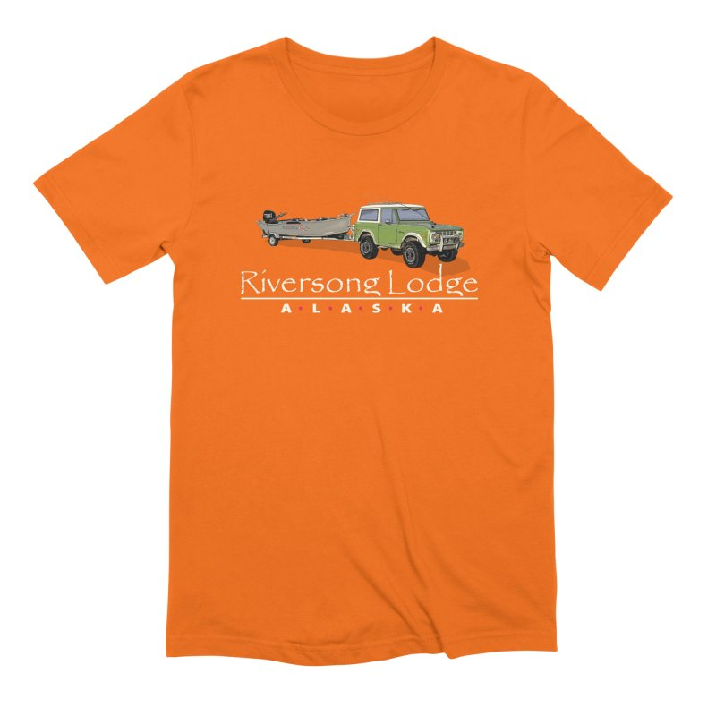 Riversong Lodge Adventure Rig (white lettering) Men's Extra Soft T-Shirt by Boneyard Studio - Boneyard Fly Gear