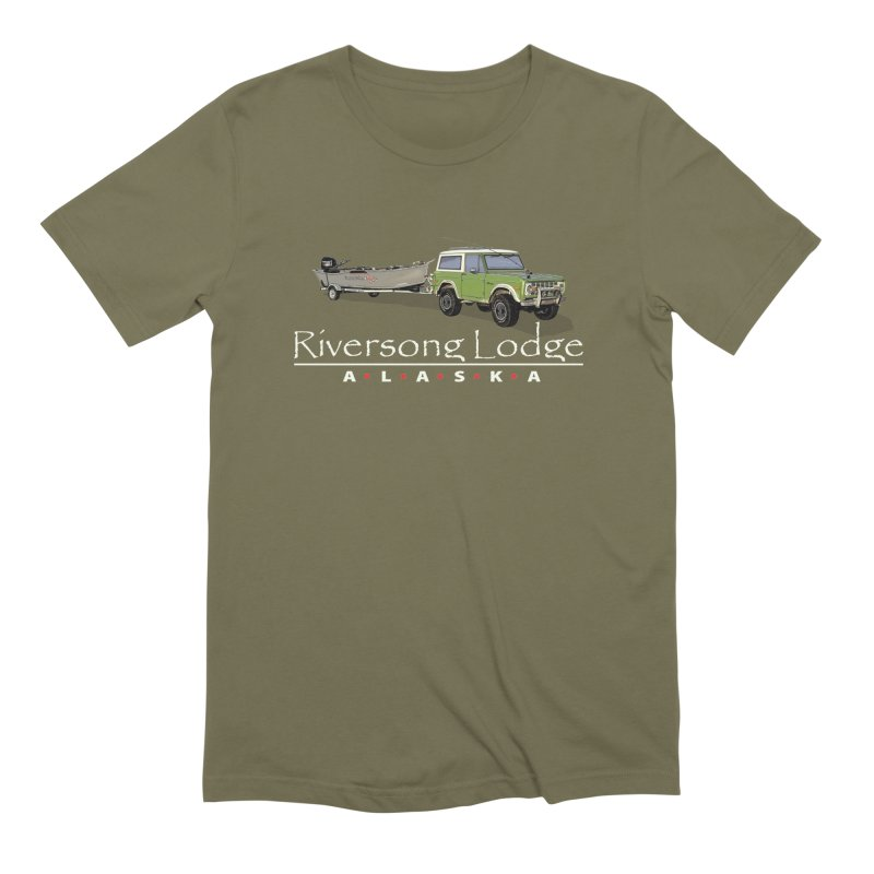 Riversong Lodge Adventure Rig (white lettering) in Men's Extra Soft T-Shirt Olive by Boneyard Studio - Boneyard Fly Gear