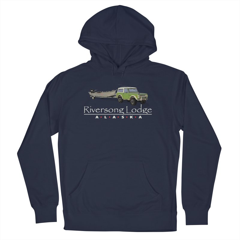 Riversong Lodge Adventure Rig (white lettering) Men's French Terry Pullover Hoody by Boneyard Studio - Boneyard Fly Gear