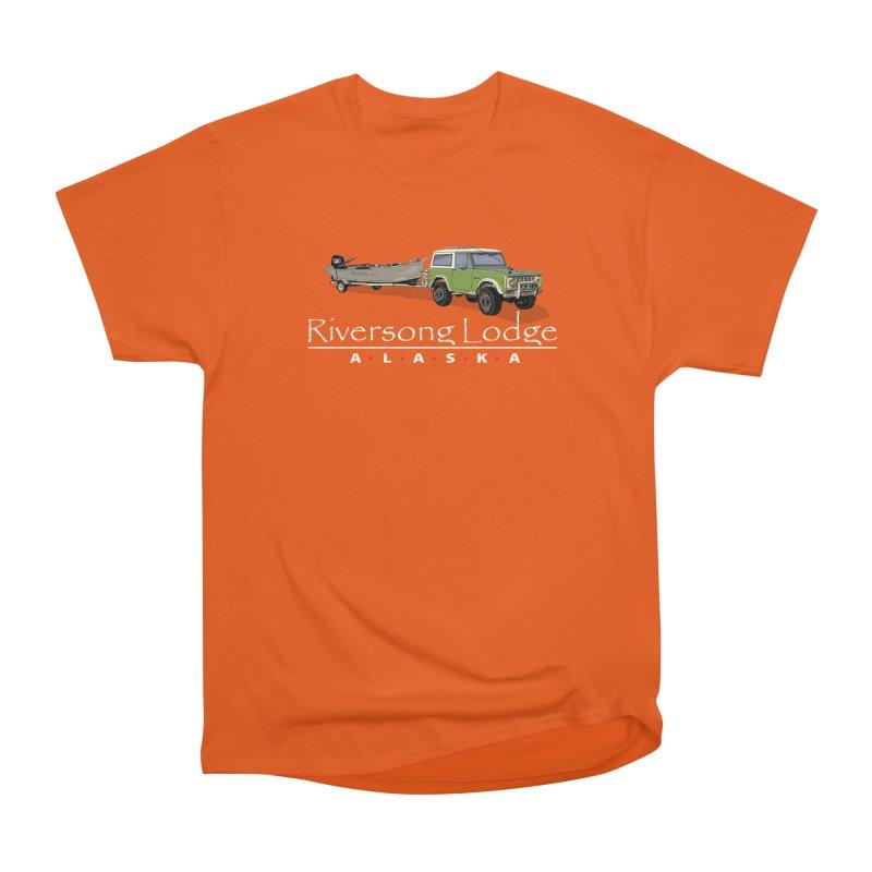 Riversong Lodge Adventure Rig (white lettering) Men's Heavyweight T-Shirt by Boneyard Studio - Boneyard Fly Gear