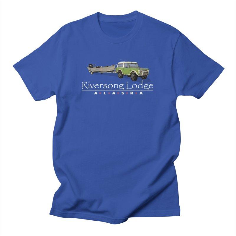 Riversong Lodge Adventure Rig (white lettering) Men's Regular T-Shirt by Boneyard Studio - Boneyard Fly Gear