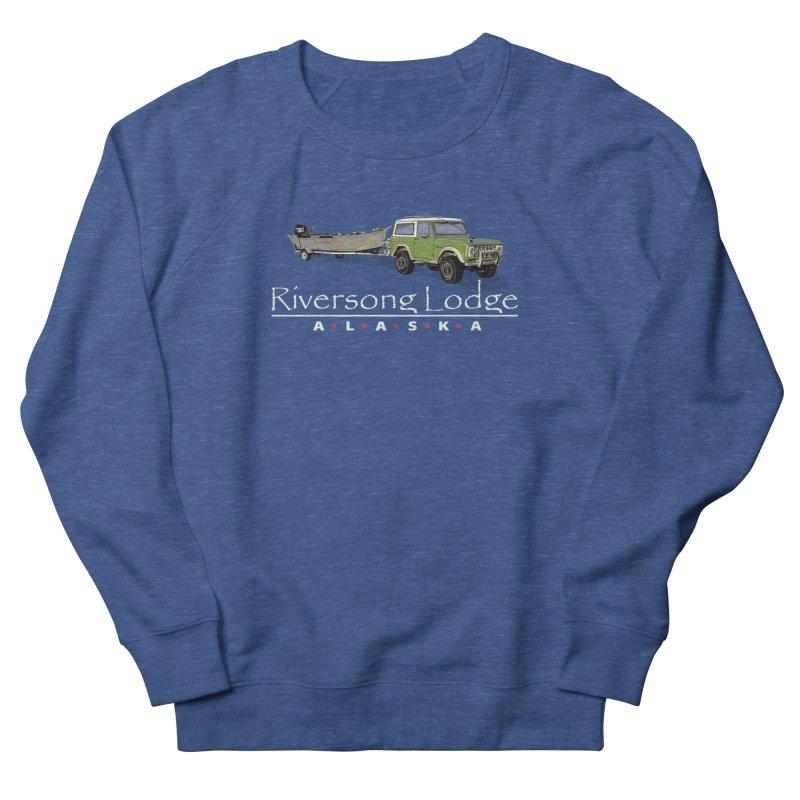 Riversong Lodge Adventure Rig (white lettering) Men's French Terry Sweatshirt by Boneyard Studio - Boneyard Fly Gear