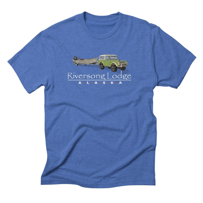 Riversong Lodge Adventure Rig (white lettering) Men's Triblend T-Shirt by Boneyard Studio - Boneyard Fly Gear