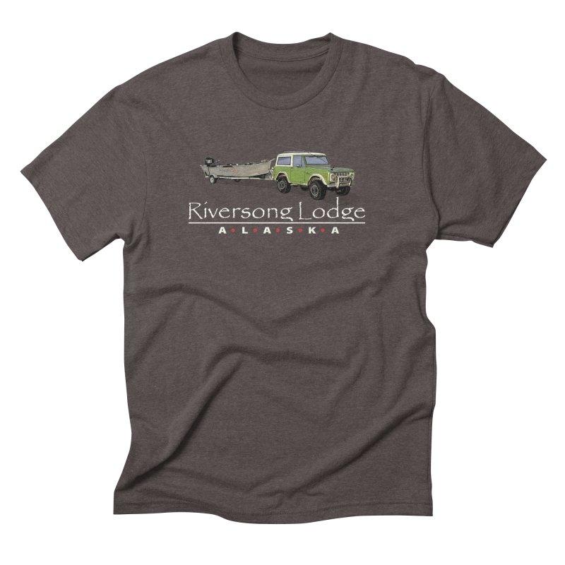 Riversong Lodge Adventure Rig (white lettering) Men's T-Shirt by Boneyard Studio - Boneyard Fly Gear