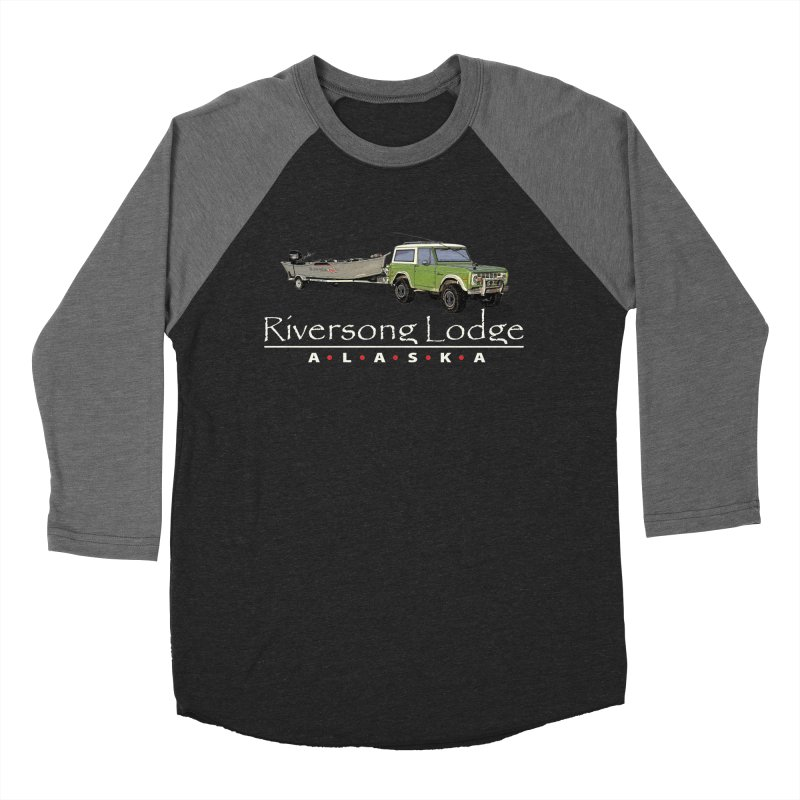 Riversong Lodge Adventure Rig (white lettering) Men's Baseball Triblend Longsleeve T-Shirt by Boneyard Studio - Boneyard Fly Gear