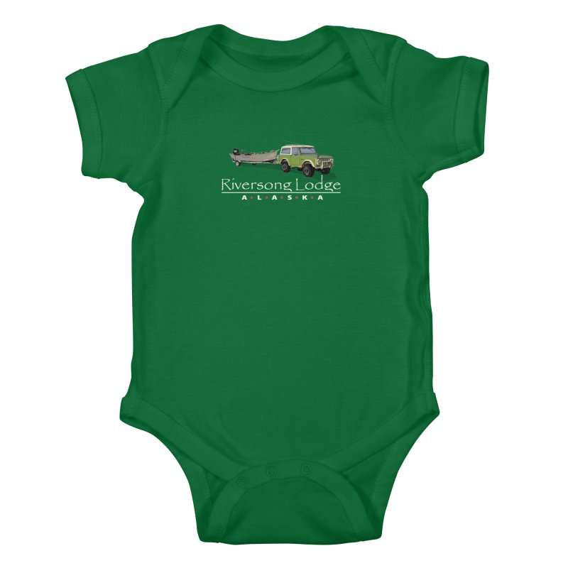 Riversong Lodge Adventure Rig (white lettering) Kids Baby Bodysuit by Boneyard Studio - Boneyard Fly Gear