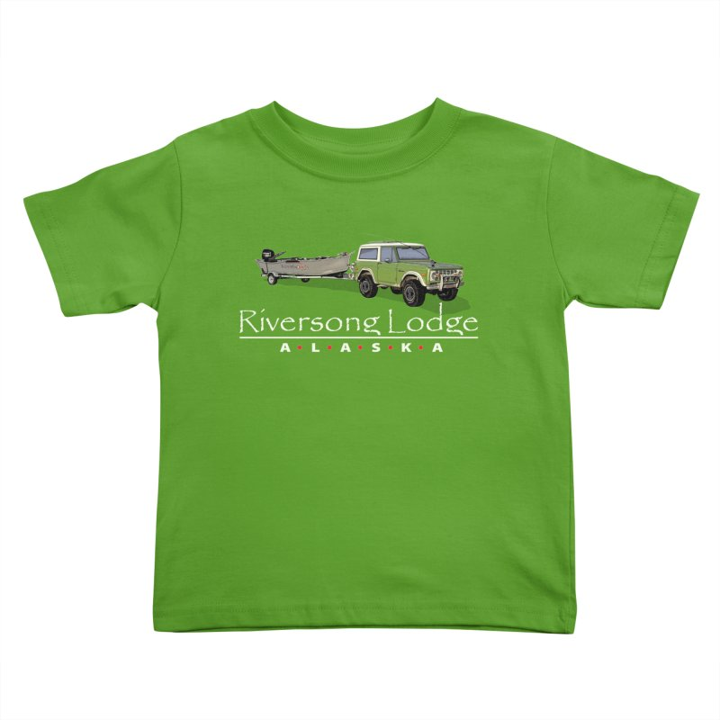Riversong Lodge Adventure Rig (white lettering) Kids Toddler T-Shirt by Boneyard Studio - Boneyard Fly Gear