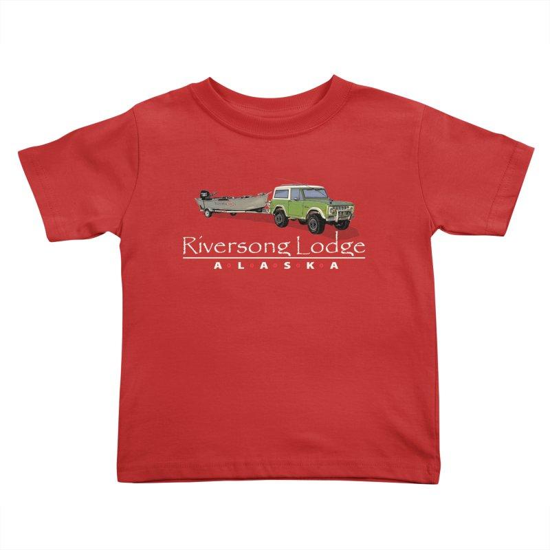 Riversong Lodge Adventure Rig (white lettering) Kids Toddler T-Shirt by Boneyard Studio - Boneyard Fly Gear