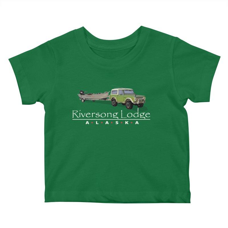 Riversong Lodge Adventure Rig (white lettering) Kids Baby T-Shirt by Boneyard Studio - Boneyard Fly Gear