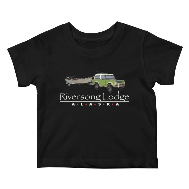 Riversong Lodge Adventure Rig (white lettering) Kids Baby T-Shirt by Boneyard Studio - Boneyard Fly Gear