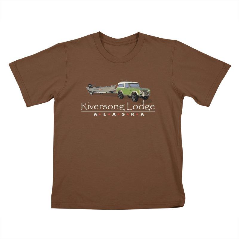 Riversong Lodge Adventure Rig (white lettering) Kids T-Shirt by Boneyard Studio - Boneyard Fly Gear