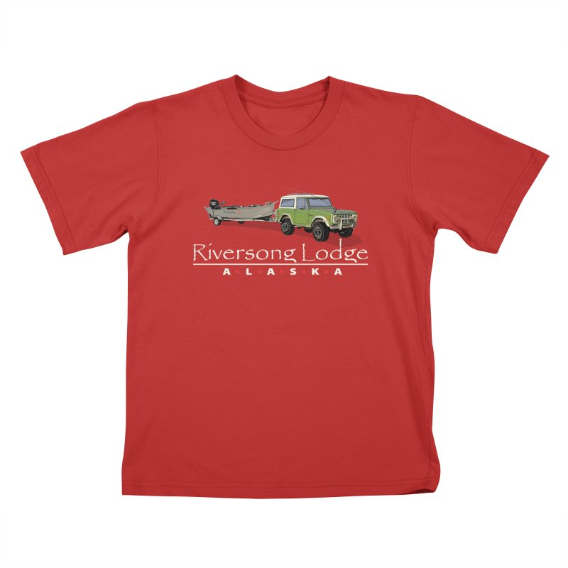Riversong Lodge Adventure Rig (white lettering) Kids T-Shirt by Boneyard Studio - Boneyard Fly Gear