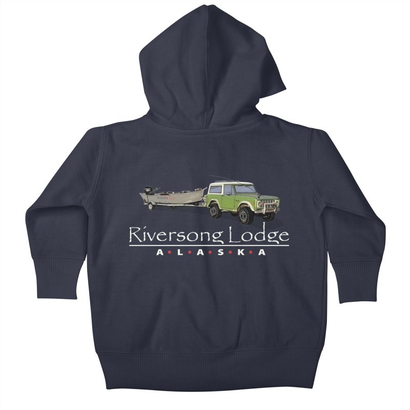 Riversong Lodge Adventure Rig (white lettering) Kids Baby Zip-Up Hoody by Boneyard Studio - Boneyard Fly Gear