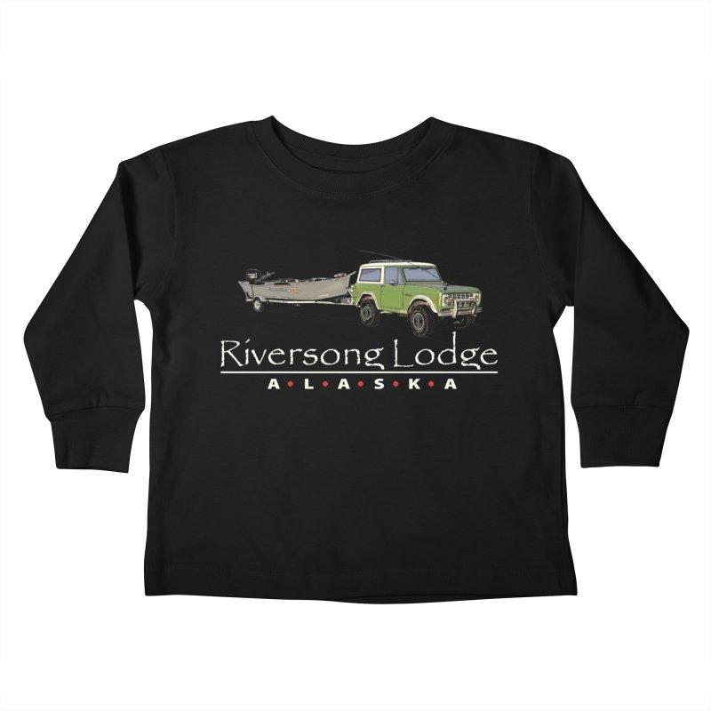Riversong Lodge Adventure Rig (white lettering) Kids Toddler Longsleeve T-Shirt by Boneyard Studio - Boneyard Fly Gear
