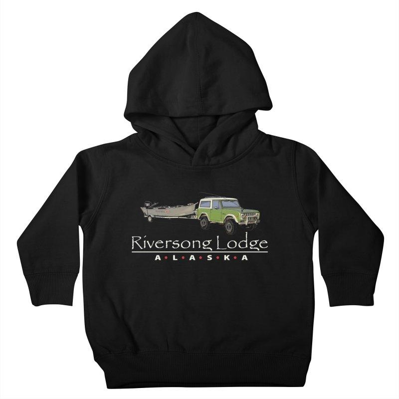 Riversong Lodge Adventure Rig (white lettering) Kids Toddler Pullover Hoody by Boneyard Studio - Boneyard Fly Gear