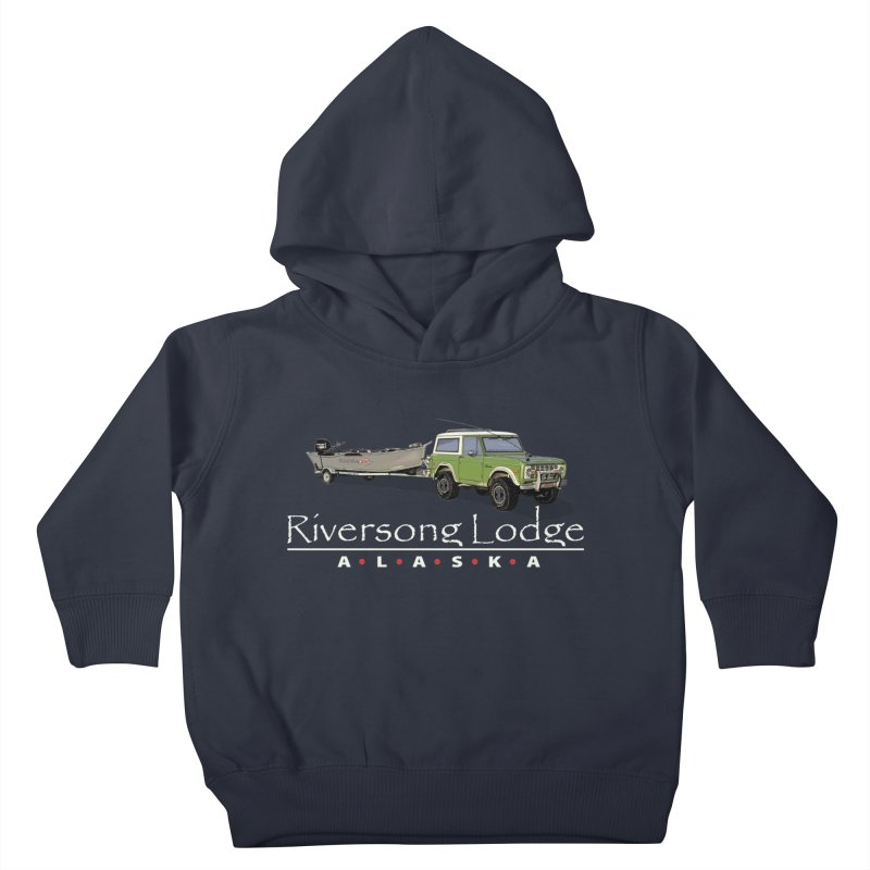 Riversong Lodge Adventure Rig (white lettering) Kids Toddler Pullover Hoody by Boneyard Studio - Boneyard Fly Gear