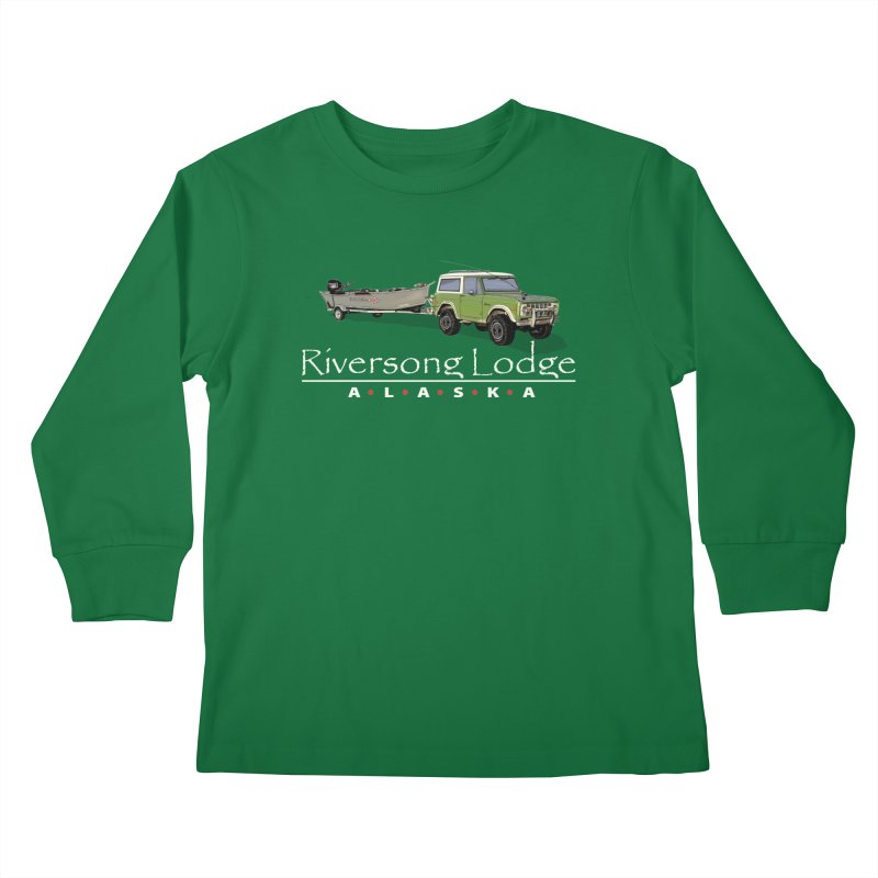 Riversong Lodge Adventure Rig (white lettering) Kids Longsleeve T-Shirt by Boneyard Studio - Boneyard Fly Gear