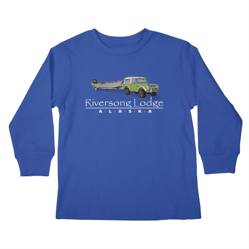 Riversong Lodge Adventure Rig (white lettering) Kids Longsleeve T-Shirt by Boneyard Studio - Boneyard Fly Gear