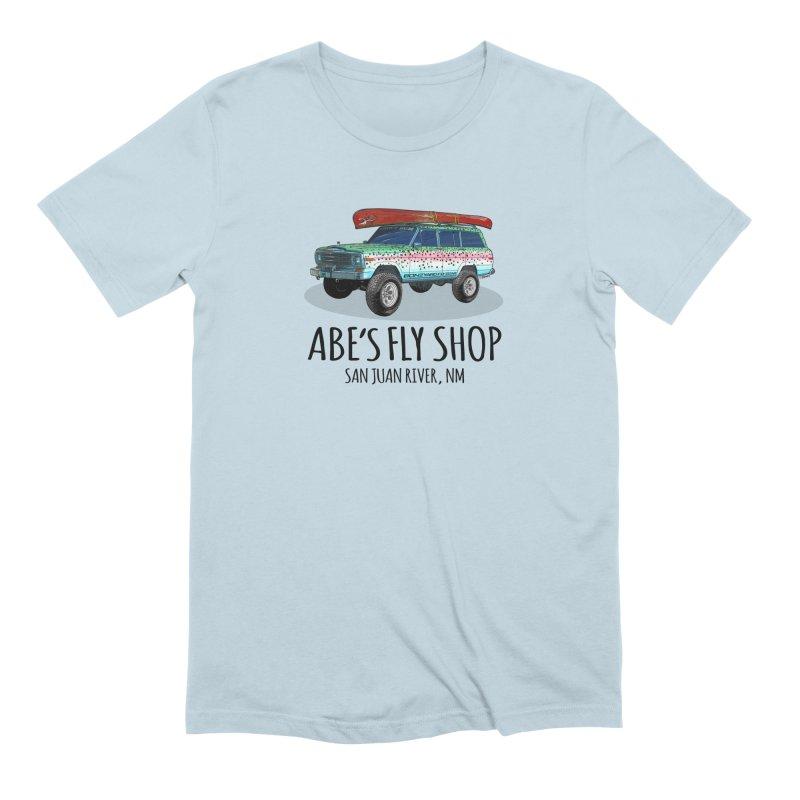 TB Wagoneer - Abe's Fly Shop in Men's Extra Soft T-Shirt Baby Blue by Boneyard Studio - Boneyard Fly Gear
