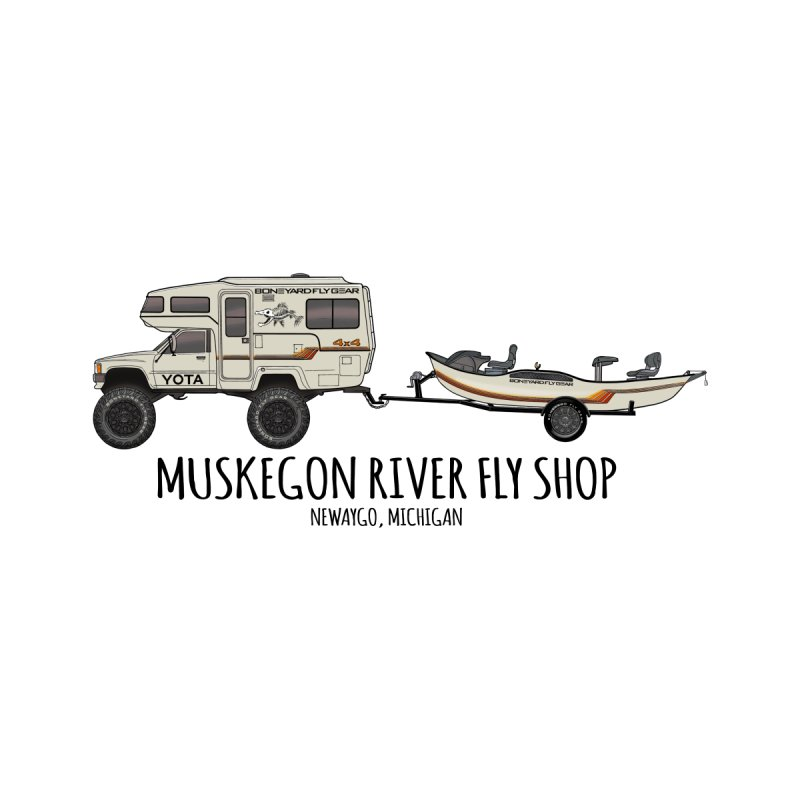 M.R. Fly Shop - 100% of the profits from this design will go to The Muskegon River Fly Shop Men's T-Shirt by Boneyard Studio - Boneyard Fly Gear