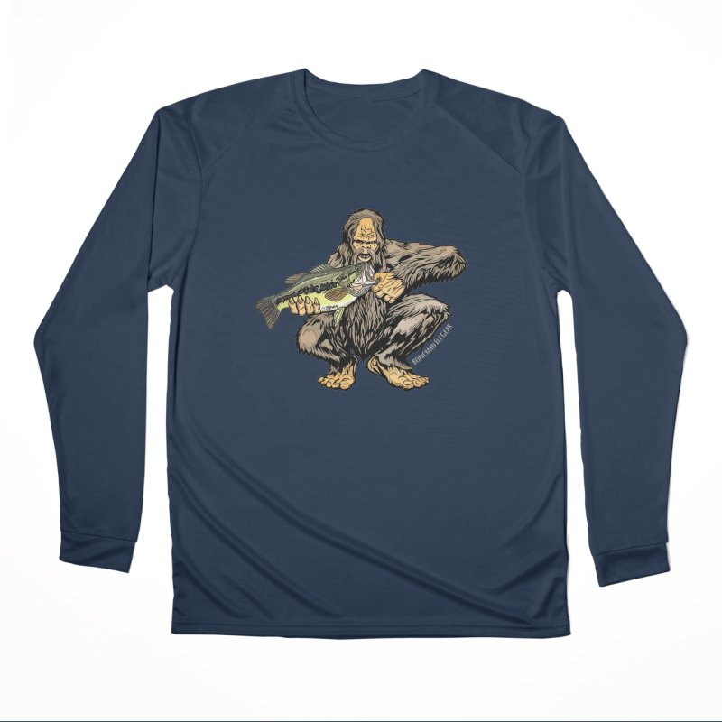 Sasquatch Largemouth Bass Men's Performance Longsleeve T-Shirt by Boneyard Studio - Boneyard Fly Gear