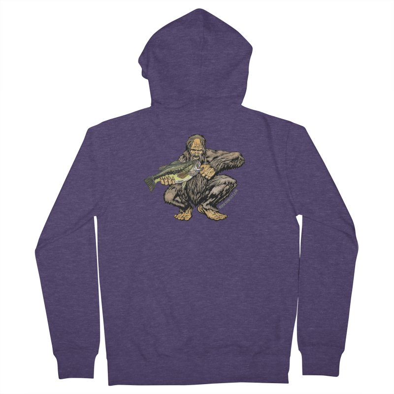 Sasquatch Largemouth Bass Men's French Terry Zip-Up Hoody by Boneyard Studio - Boneyard Fly Gear
