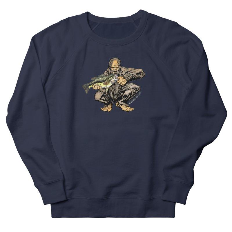 Sasquatch Largemouth Bass Men's French Terry Sweatshirt by Boneyard Studio - Boneyard Fly Gear