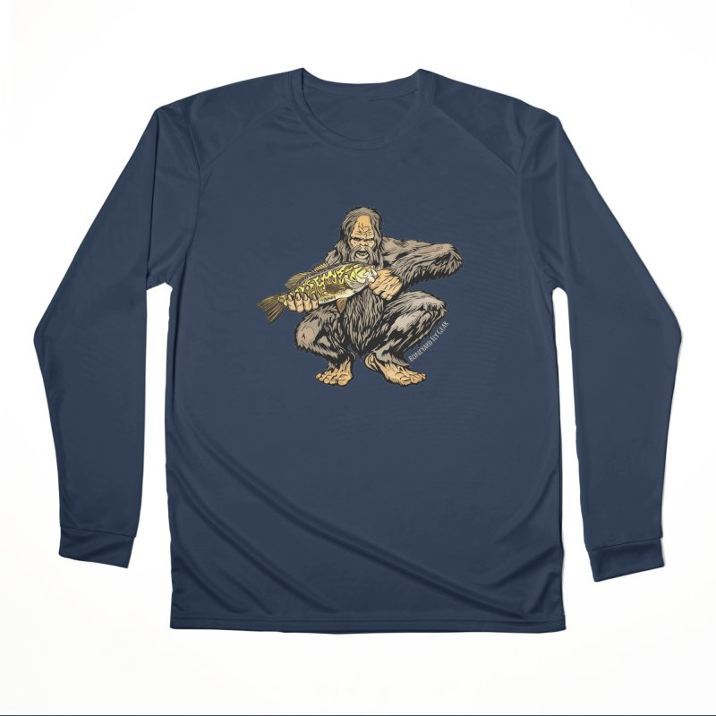 Sasquatch Smallmouth Bass Men's Performance Longsleeve T-Shirt by Boneyard Studio - Boneyard Fly Gear