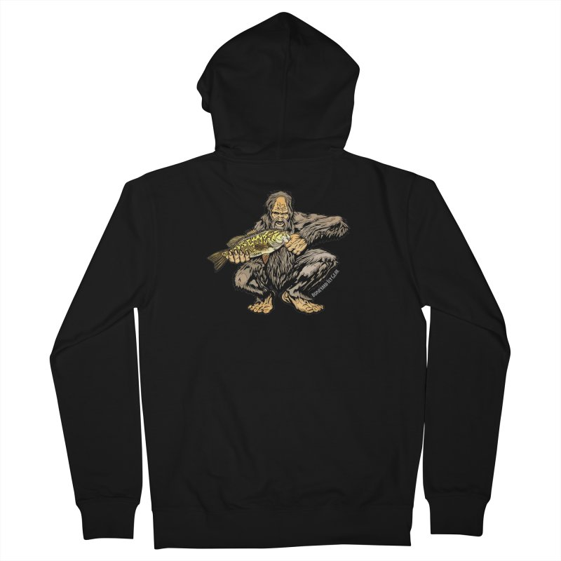 Sasquatch Smallmouth Bass Men's French Terry Zip-Up Hoody by Boneyard Studio - Boneyard Fly Gear