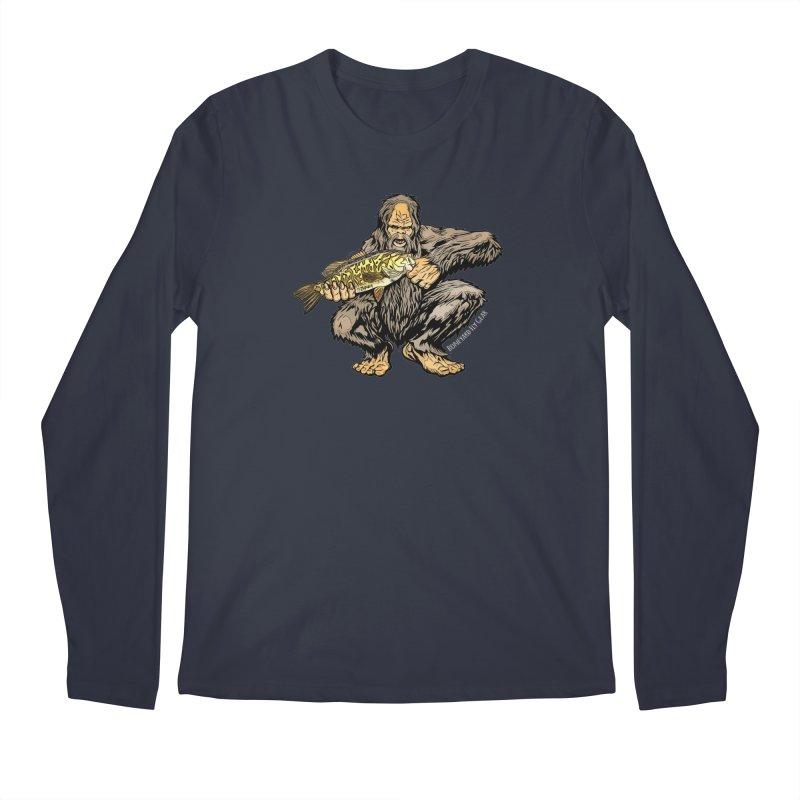 Sasquatch Smallmouth Bass Men's Regular Longsleeve T-Shirt by Boneyard Studio - Boneyard Fly Gear