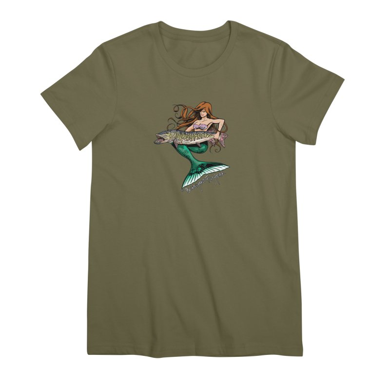 Mermaid Musky Women's Premium T-Shirt by Boneyard Studio - Boneyard Fly Gear
