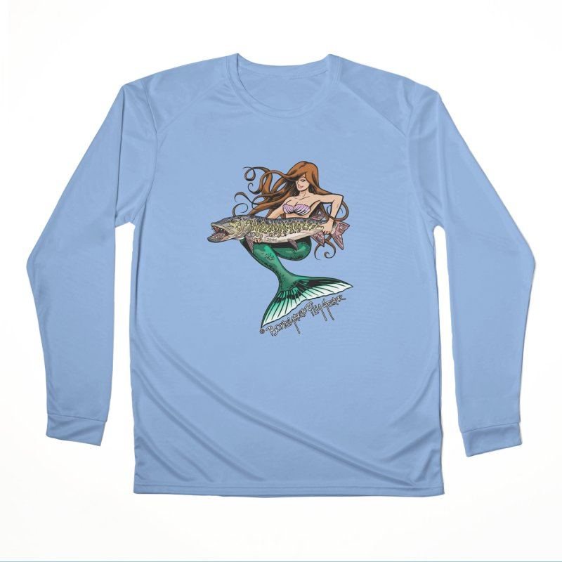 Mermaid Musky Women's Longsleeve T-Shirt by Boneyard Studio - Boneyard Fly Gear