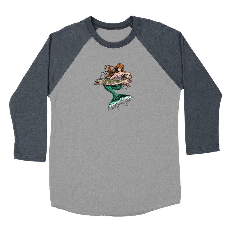 Mermaid Musky Women's Baseball Triblend Longsleeve T-Shirt by Boneyard Studio - Boneyard Fly Gear
