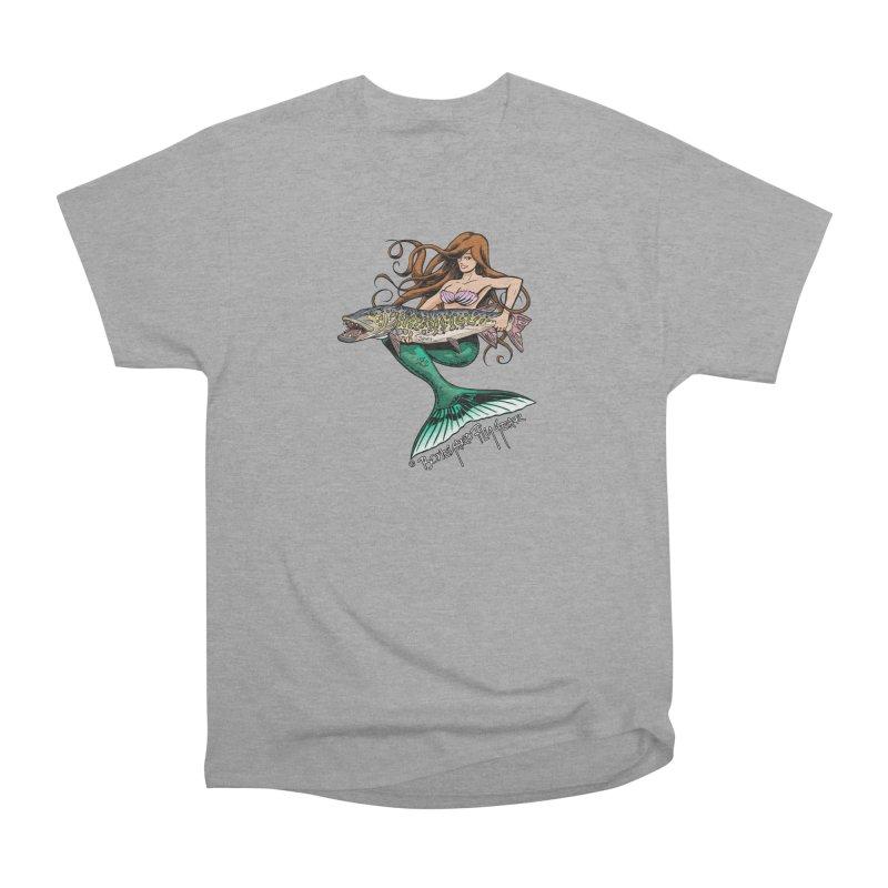Mermaid Musky Women's Heavyweight Unisex T-Shirt by Boneyard Studio - Boneyard Fly Gear
