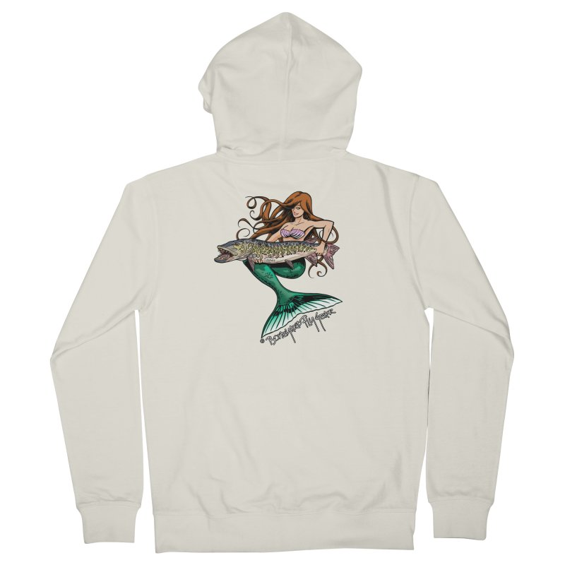 Mermaid Musky Men's French Terry Zip-Up Hoody by Boneyard Studio - Boneyard Fly Gear
