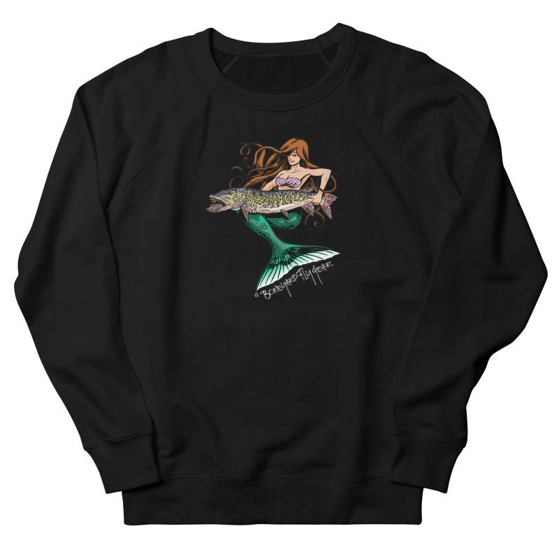 Mermaid Musky Women's French Terry Sweatshirt by Boneyard Studio - Boneyard Fly Gear