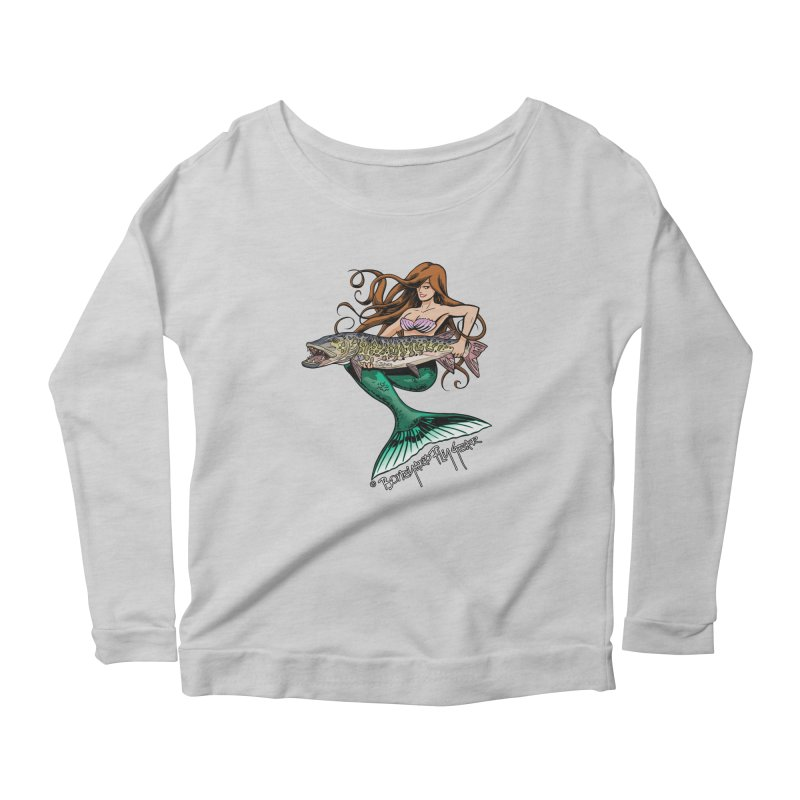 Mermaid Musky Women's Scoop Neck Longsleeve T-Shirt by Boneyard Studio - Boneyard Fly Gear