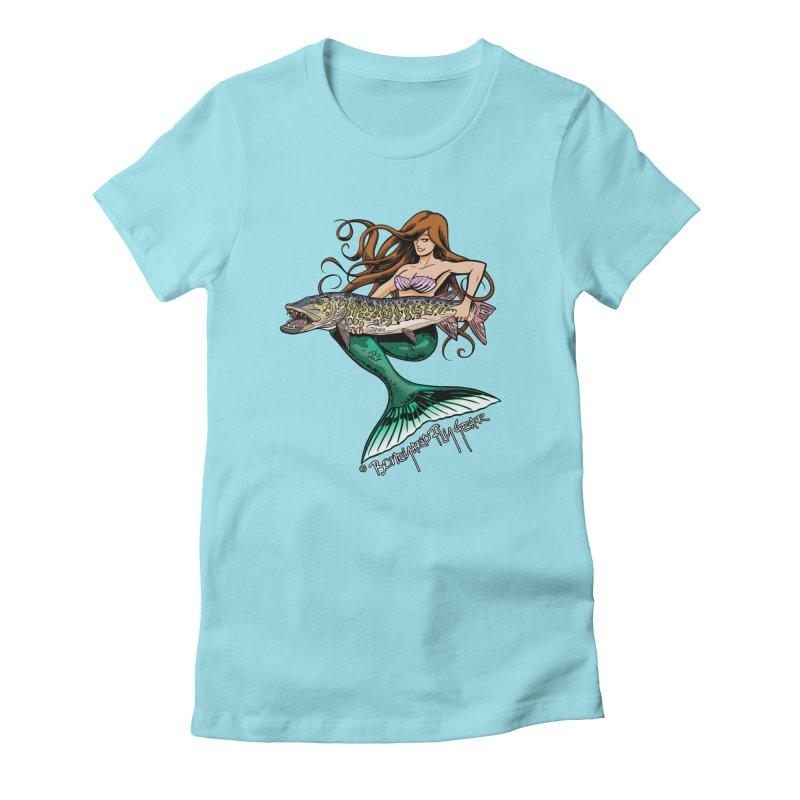 Mermaid Musky Women's Fitted T-Shirt by Boneyard Studio - Boneyard Fly Gear