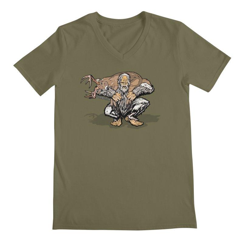 Yeti with Big Buck Men's Regular V-Neck by Boneyard Studio - Boneyard Fly Gear