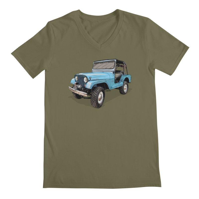 Jeep CJ5 Adventure Rig Men's Regular V-Neck by Boneyard Studio - Boneyard Fly Gear