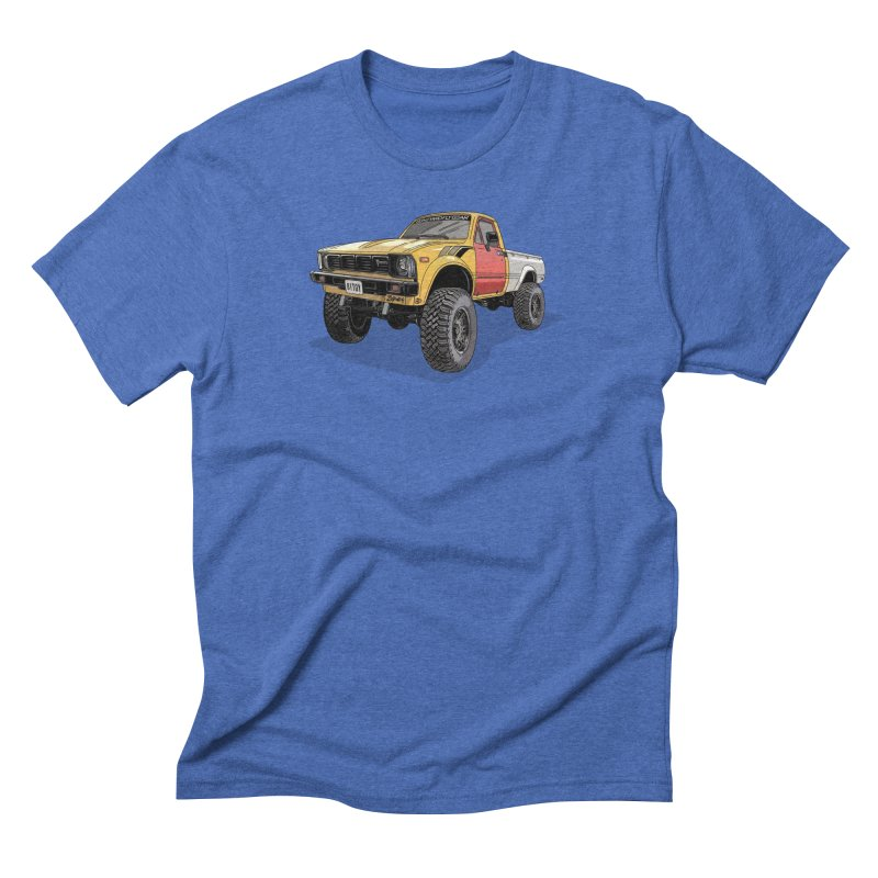 1981 Toyota Hilux in Men's Triblend T-Shirt Blue Triblend by Boneyard Studio - Boneyard Fly Gear