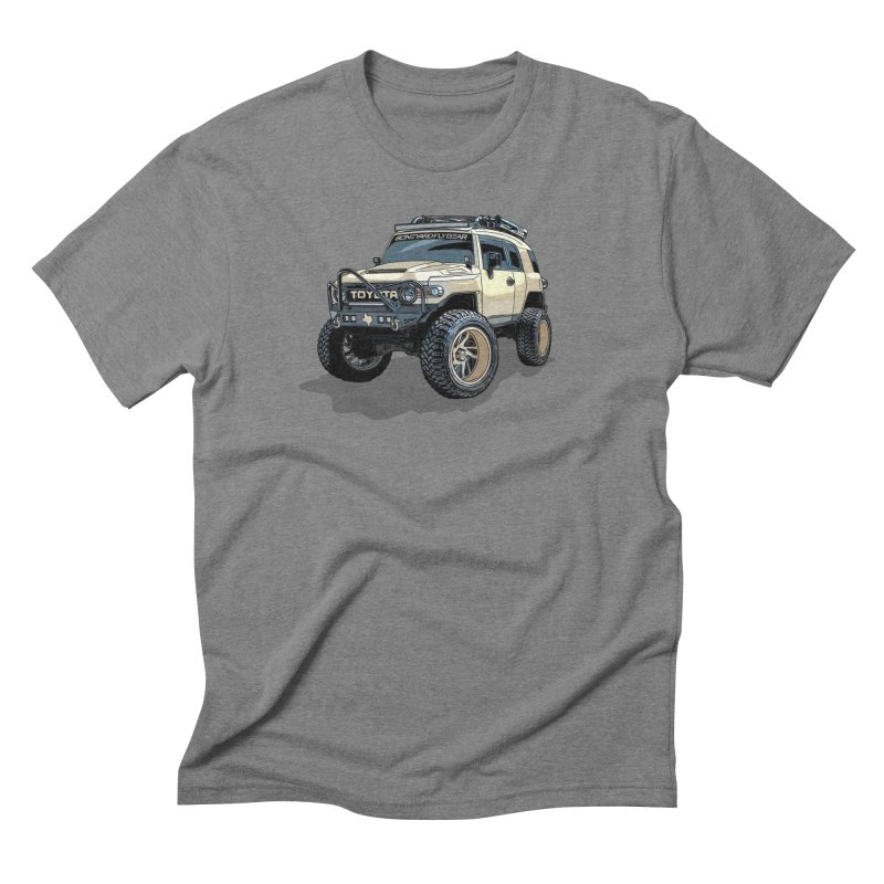 Texas size FJ Cruiser in Men's Triblend T-Shirt Grey Triblend by Boneyard Studio - Boneyard Fly Gear