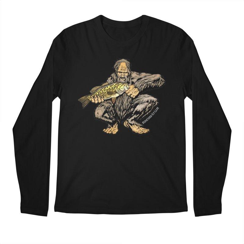 Squatch Smallmouth XL in Men's Regular Longsleeve T-Shirt Black by Boneyard Studio - Boneyard Fly Gear